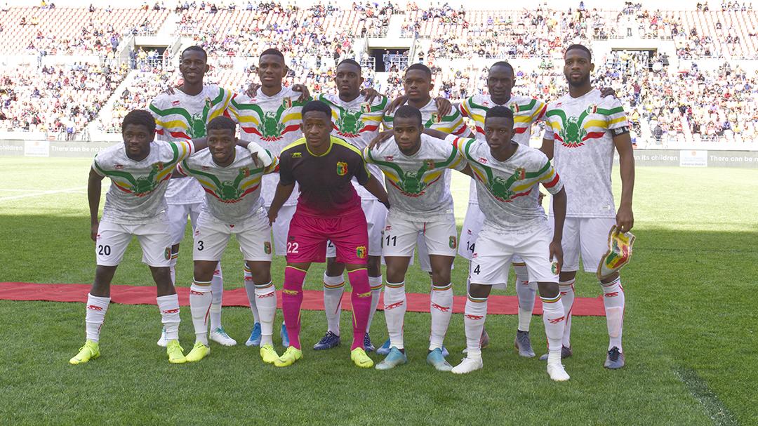 La sélection malienne avant son match contre l'Afrique du Sud, à Port Elizabeth, le 13 octobre 2019