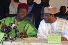 Mahamane Ousmane et Hama Amadou lors d'une rencontre de l'opposition à Niamey, le 5 octobre 2014.