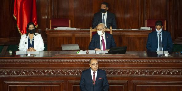 Le chef du gouvernement tunisien, Hichem Mechichi, lors du vote de confiance du Parlement, le 1er septembre 2020.