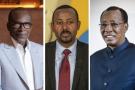 Le président béninois Patrice Talon, le Premier ministre éthiopien Abiy Ahmed, le président tchadien Idriss Déby Itno et le président congolais Denis Sassou-Nguesso.