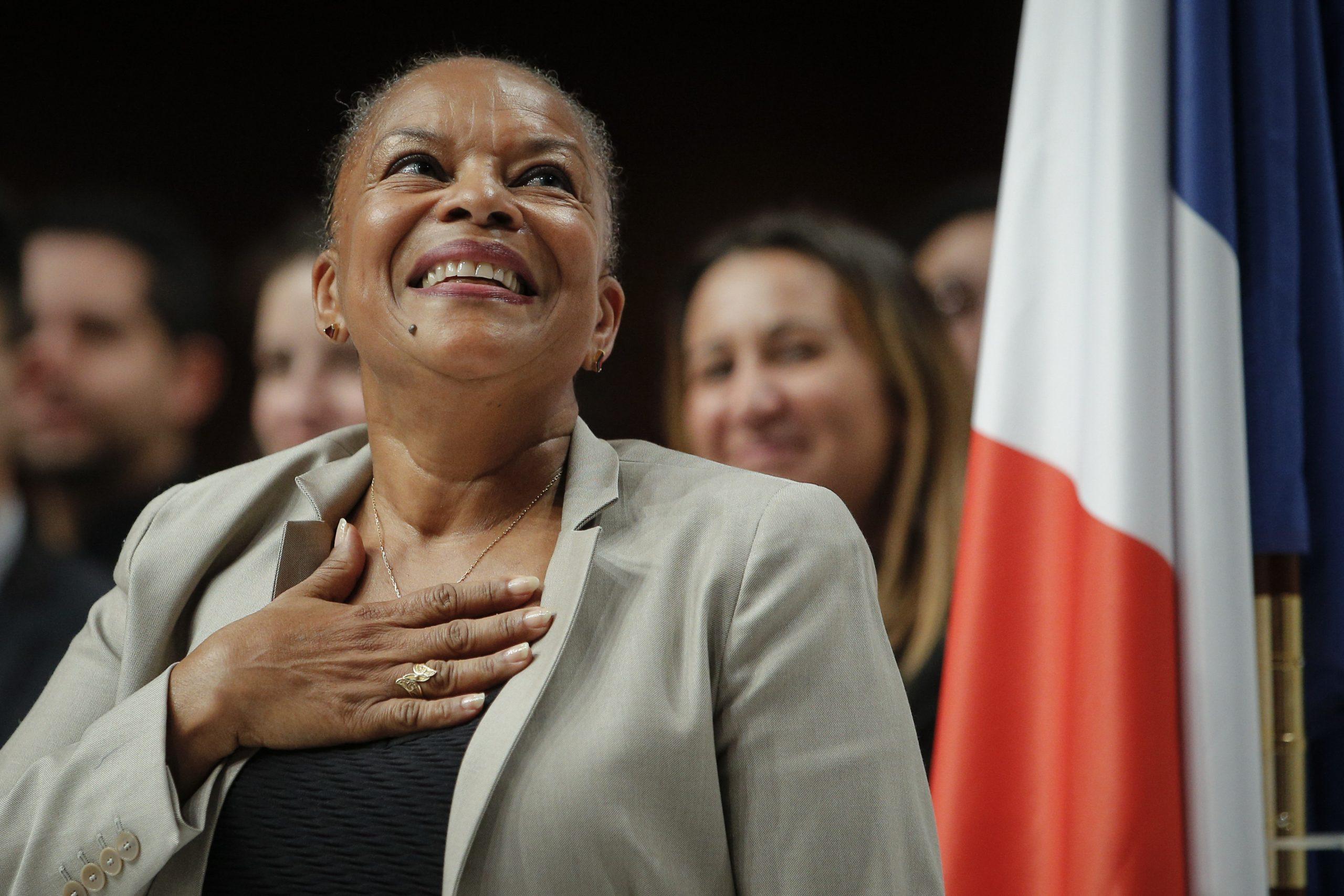 Christiane Taubira, ancienne ministre de la justice, prononce un discours lors d'une convention d'investiture du Parti socialiste français pour l'élection présidentielle à Paris, dimanche 5 février 2017.