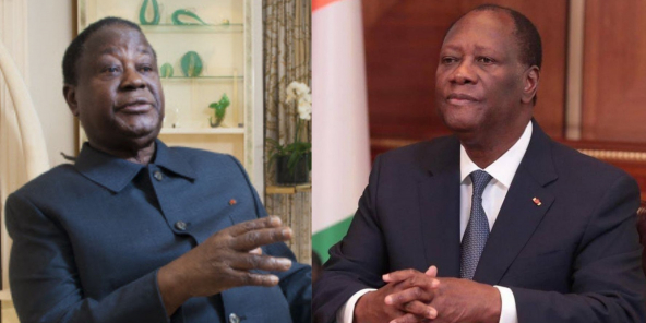 Si Alassane Ouattara (ici le 31 décembre 2020 à Abidjan) et Henri Konan Bédié (ici en 2019 à Paris) appellent tous deux au dialogue, l'opposant ivoirien refuse de reconnaître l'élection du président.