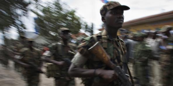 Soldats rwandais se retirant du territoire congolais, ici à Goma, le 25 février 2009 (illustration).