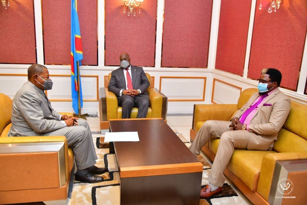 Félix Tshisekedi, Lambert Mende et Thierry Monsenepwo au Palais de la Nation, à Kinshasa, le 6 janvier 2021