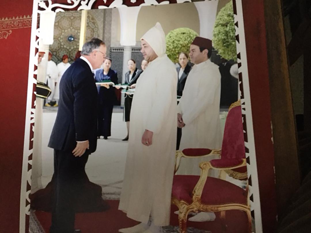 Yehuda Lancry et le roi Mohammed VI le 31 juillet 2008 au Palais royal de Fès.