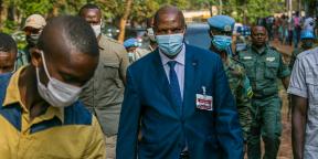 Le président centrafricain, Faustin-Archange Touadéra, le 27 décembre 2020, jour de l'élection présidentielle.