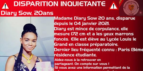 Avis de recherche de l'étudiante sénégalaise Diary Sow.