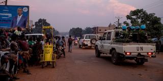Casques bleus à Bangui lors des élections du 4 janvier 2021.