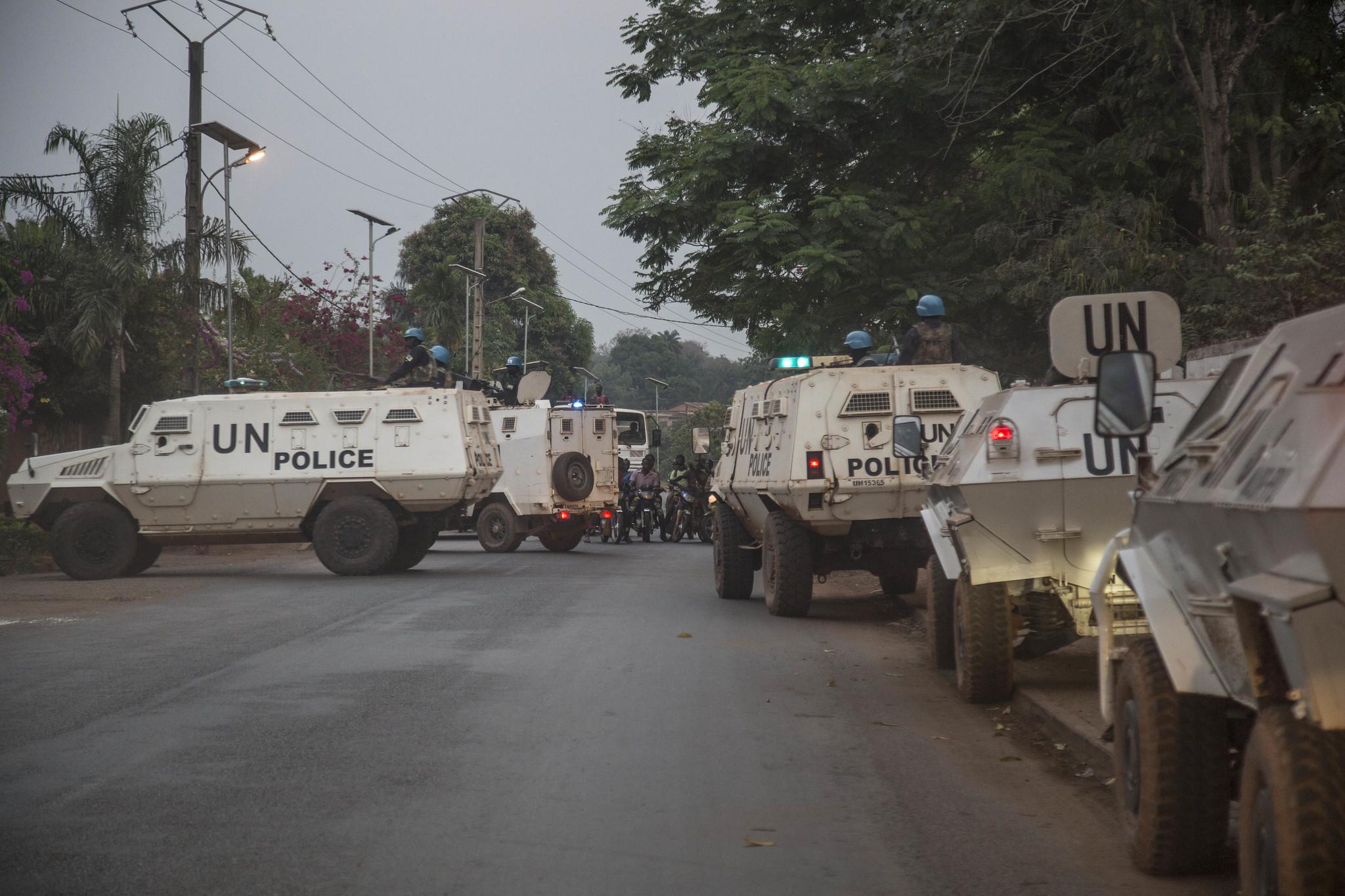 La minusca sécurise les accès à Bangui, le 18 décembre 2020.