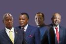 Yoweri Museveni, Denis Sassou Nguesso, Idriss Déby Itno et  Ismaïl Omar Guelleh.