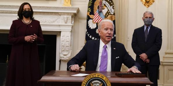 Le président américain Joe Biden, le 21 janvier 2021 à la Maison Blanche.