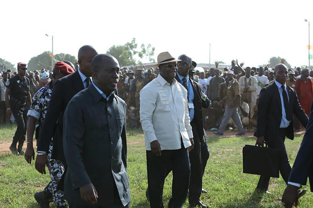 Alassane Ouattara, à Ouangolodougou, dans le Nord de la Côte d'Ivoire.