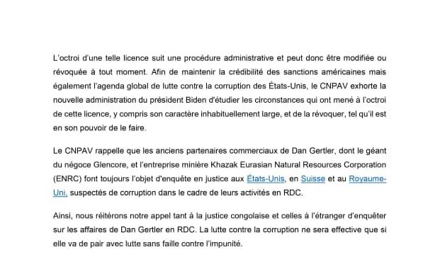 Dans un communiqué, la campagne «Le Congo n'est pas à vendre» a dénoncé le relâchement des sanctions imposées contre l'hommes d'affaires Dan Gertler.