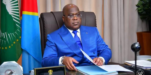 Félix Tshisekedi, le 13 janvier 2021, lors d'une réunion du Bureau de la conférence des chefs d'État et de gouvernement de l'Union africaine.