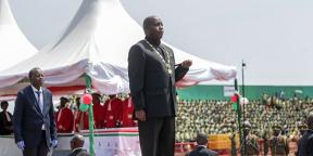 Evariste Ndayishimiye lors de sa prestation de serment, le 19 juin 2020, à Gitega