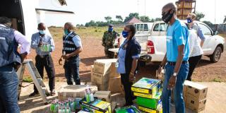 Livraison de matériel logistique, le 16 février 2021, pour faire face à de nouveaux cas de fièvre hémorragique Ebola.