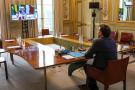 Le président français, Emmanuel Macron, lors d'une visioconférence avec les cinq chefs d'Etat des pays membres du G5 Sahel.