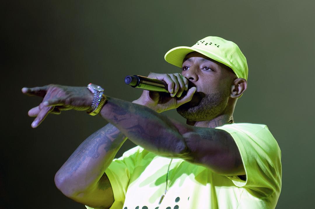 Le rapppeur français Booba lors de la huitième édition du festival «We Love Green» sur la pelouse du Bois de Vincennes près de Paris, le 1er juin 2019.