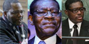 Le président équato-guinéen, Teodoro Obiang Nguema Mbasogo, entouré de ses fils Gabriel (g.) et Teodorín.