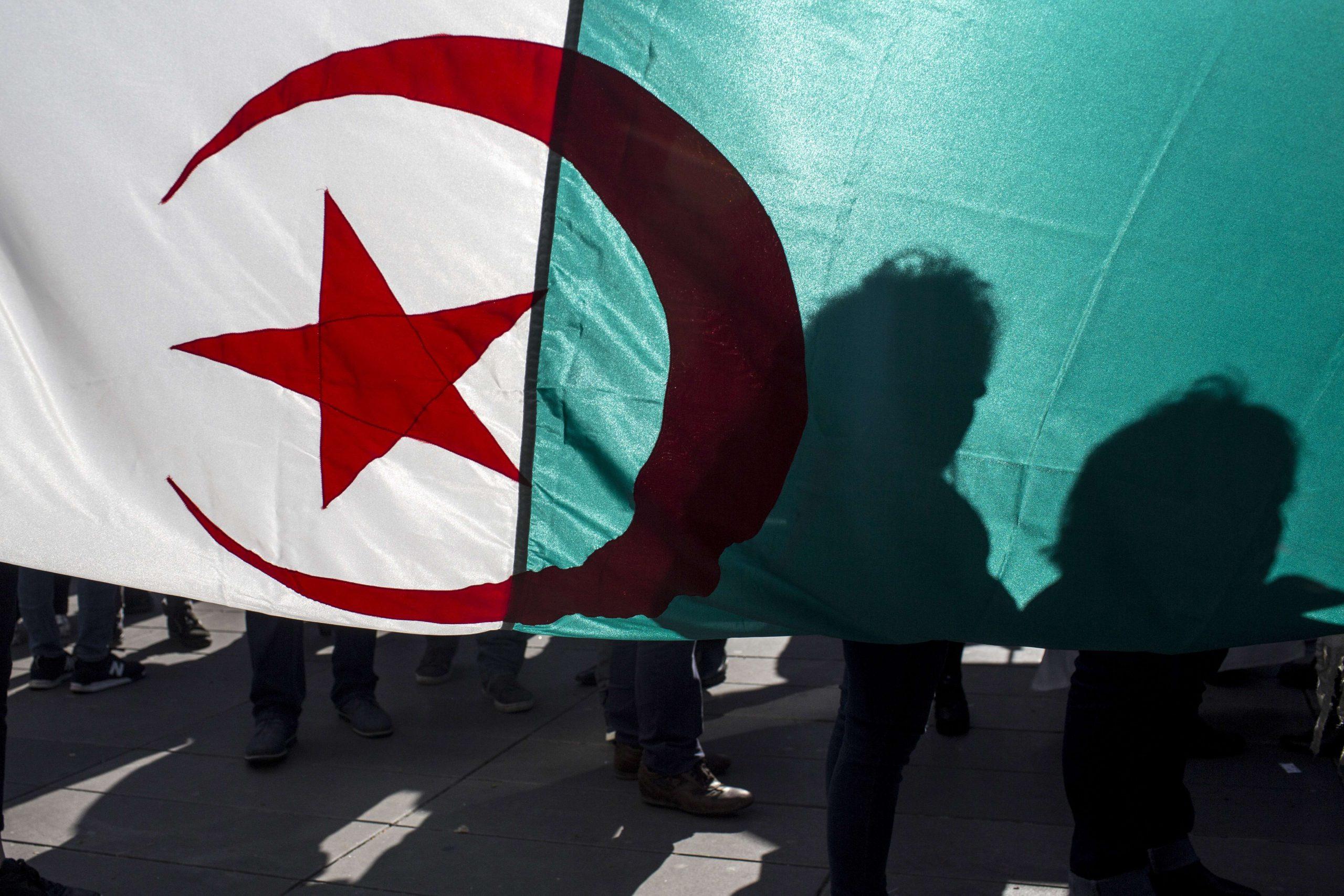 Les manifestants se dirigent vers le drapeau national algérien et manifestent sur l'esplanade de la République pour réclamer la fin des 20 ans de règne du président algérien Abdelaziz Bouteflika, à Paris, le 17 mars 2019.