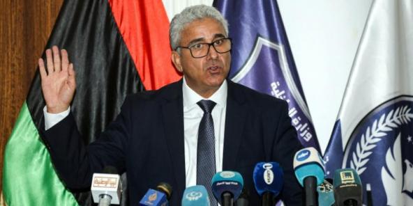 Le ministre de l'Intérieur libyen, Fathi Bachagha, lors d'une conférence de presse dans la capitale Tripoli, le 28 juillet 2020.