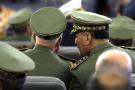 Sur cette photo prise le jeudi 19 décembre 2019, le chef militaire algérien Gaid Salah assiste à la cérémonie d'investiture du président Abdelmadjid Tebboune au palais présidentiel, à Alger, en Algérie.