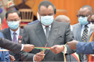 Denis Sassou Nguesso, lors de l'inauguration du nouveau siège du Parlement, le 3 mars à Brazzaville.
