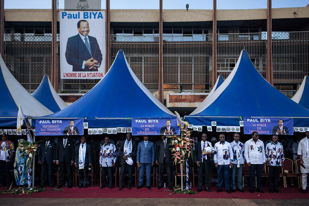 Les dirigeants du RDPC lors d'un rassemblement électoral de soutien au président Paul Biya devant l'hôtel de ville de Yaoundé, le 5 octobre 2018.