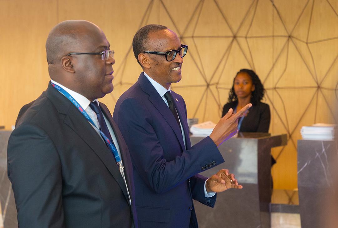 Félix Tshisekedi et Paul Kagame, à l'Africa CEO Forum, en 2019 à Kigali.