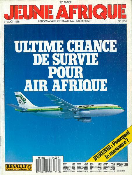 Une de Jeune Afrique n°1443, paru le 31 août 1988