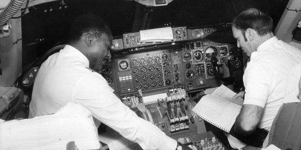 Cabine de pilotage, vol Air Afrique