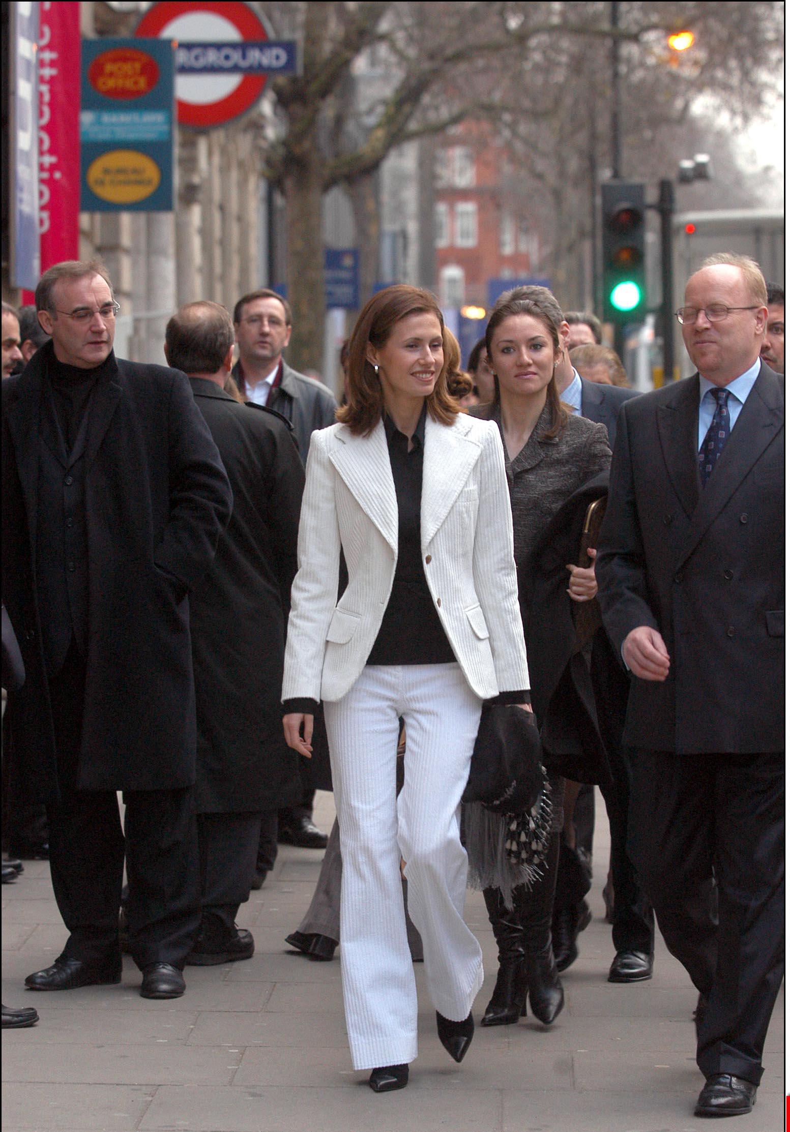 Asma al-Assad lors d'une visite officielle à Londres, le 17 décembre 2002.
