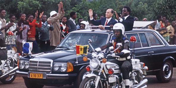 François Mitterrand et Juvenal Habyarimana à Kigali, en décembre 1984