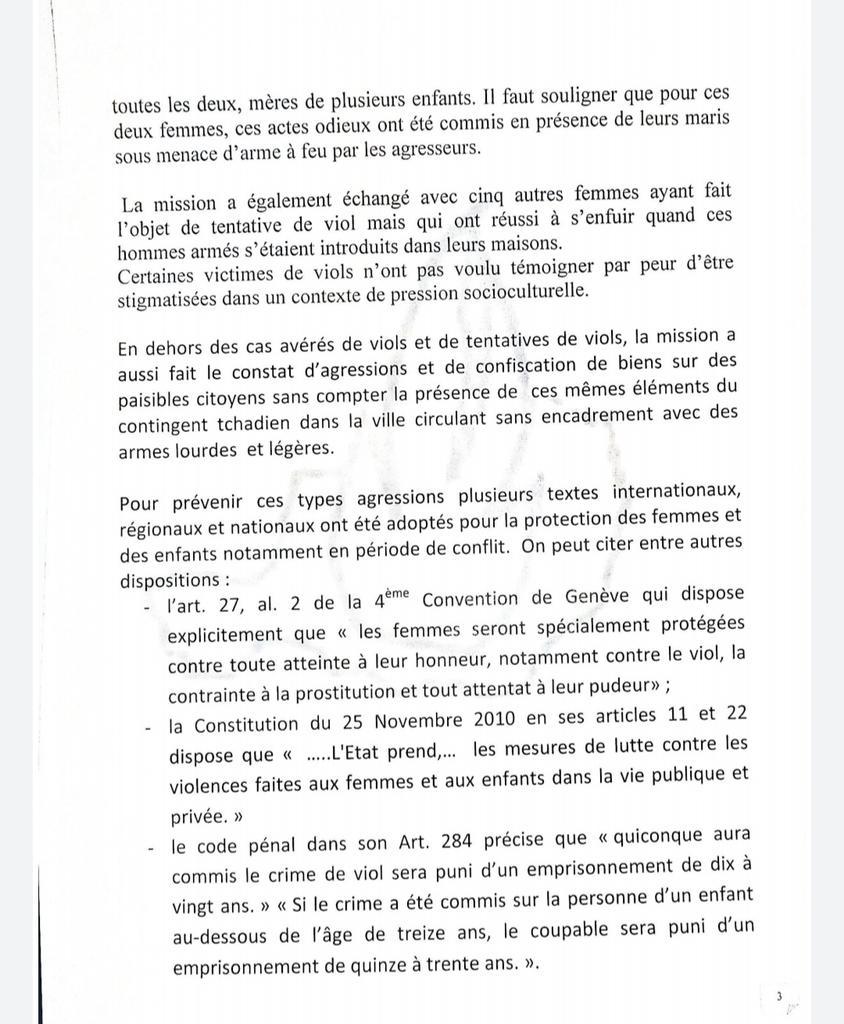 Rapport de la CNDH du Niger au sujet des accusations de viols par des soldats du G5 Sahel.