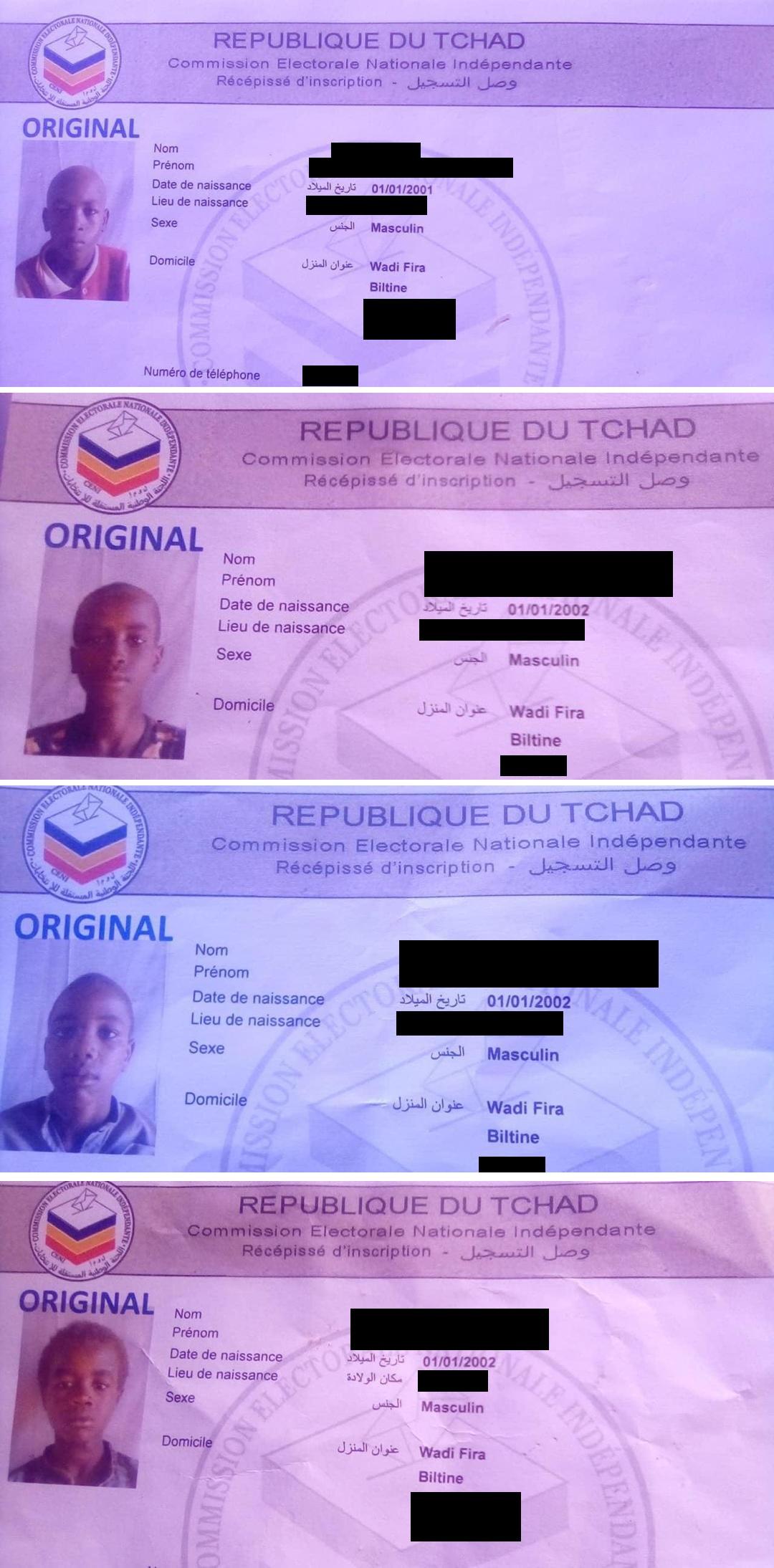 Récépissés d'enrôlement au Tchad.