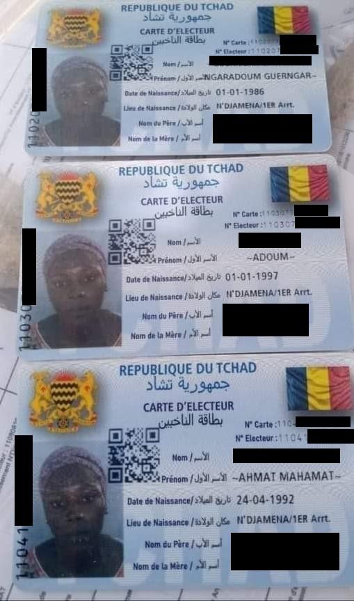 Cartes d'électeurs associant plusieurs noms à une seule et même photographie.
