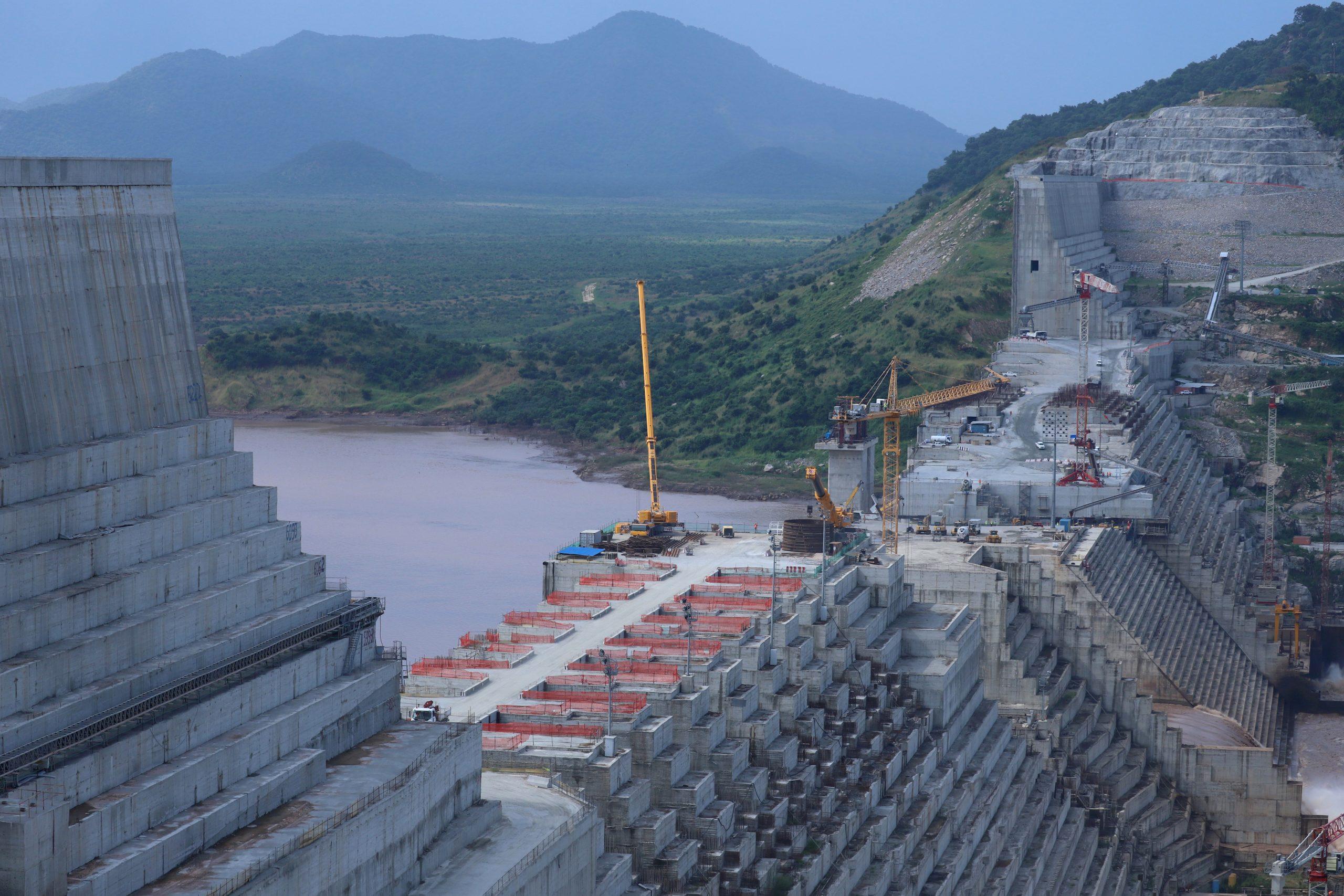 Les travaux du Grand Barrage éthiopien de la Renaissance, en septembre 2019.