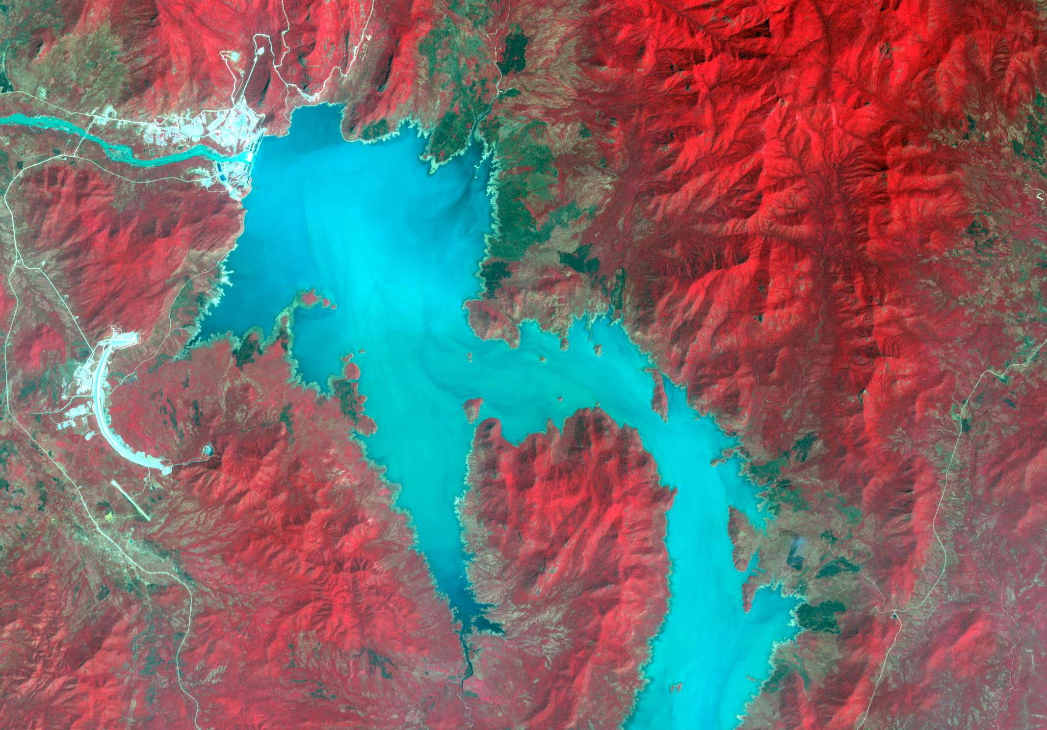 Image spectrale prise par satellite du Nil Bleu lors de la phase 1 du remplissage du Grand Barrage éthiopien de la Renaissance, le 6 novembre 2020.