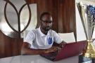 Mountaga Keïta au siège de son entreprise Tulip Industries, à Conakry, fin mars.