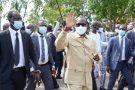 Patrice Talon, à la sortie du bureau de vote lors du premier tour de la présidentielle, le 11 avril 2021 à Cotonou.
