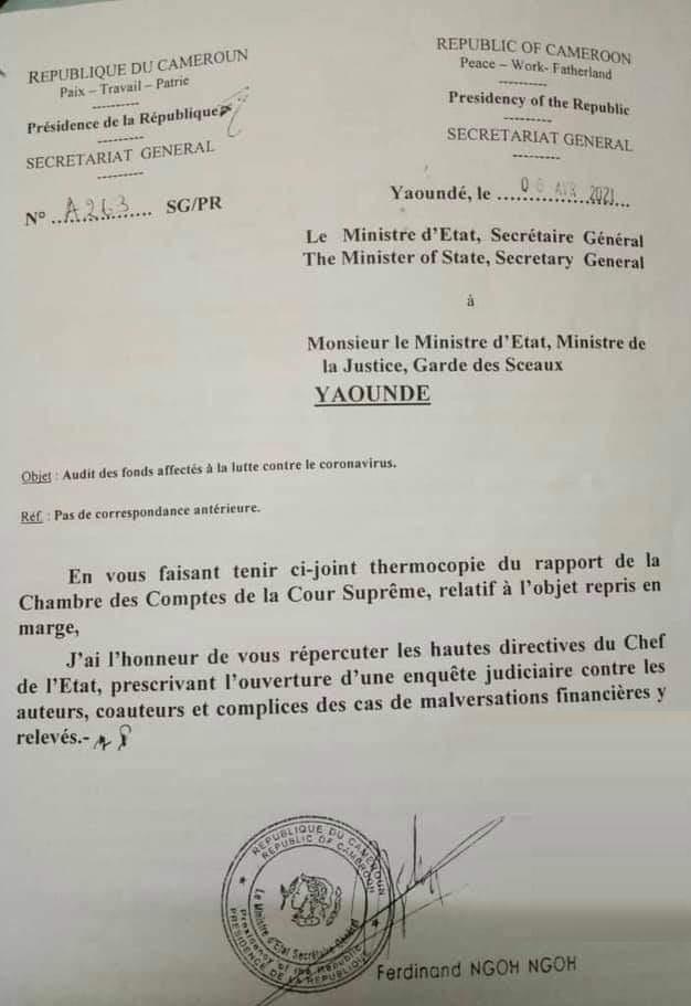 Demande d'ouverture d'enquête judiciaire concernant l'utilisation des fonds Covid au Cameroun.