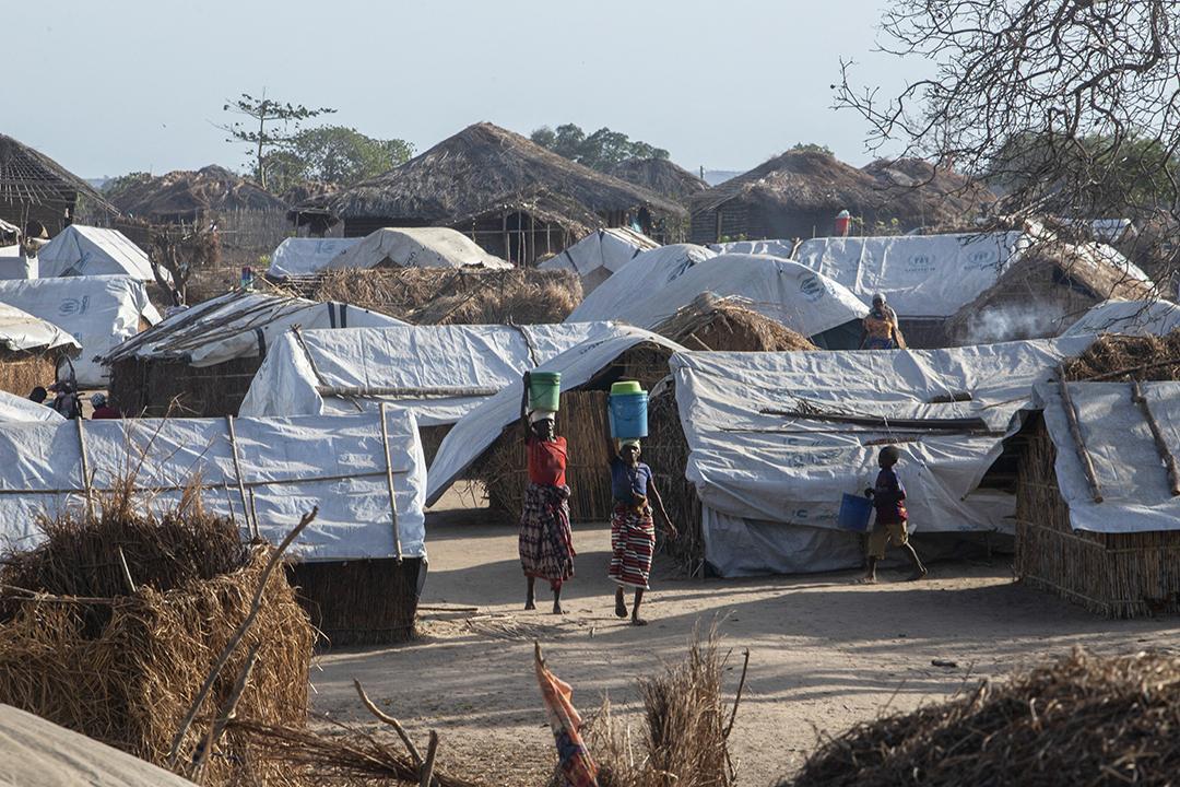 Dans le camp pour les personnes déplacées de Metuge le 9 décembre 2020, où plus de 16 000 personnes déplacées du nord de la région de Cabo Delgado sont désormais abritées.