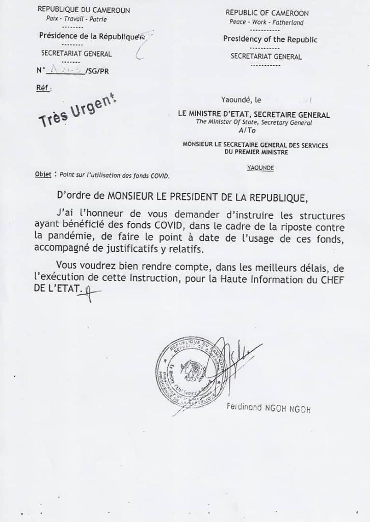 Lettre à la primature camerounaise, demandant l'analyse de l'utilisation des fonds Covid.
