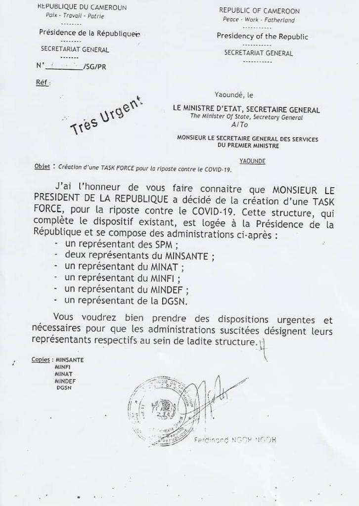 Document portant création de la task force « Covid » au Cameroun.