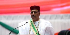 Le président Mohamed Bazoum durant sa prestation de serment à Niamey, le 2 avril.