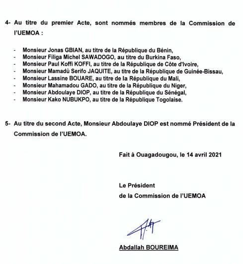 Nouvelle Commission de l'Uemoa – Avril 2021