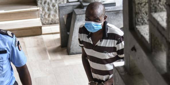 Amadé Ouérémi, ici lors de l'audience du 1er avril 2021, a été condamné à la perpétuité pour sa participation au massacre de Duékoué.