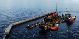 La future unité flottante Grand Tortue Ahmeyim, située sur la frontière maritime entre Sénégal et Mauritanie.