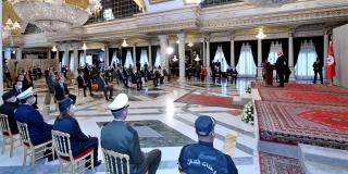 Le président Kaïs Saïed à Tunis, le 18 avril 2021.