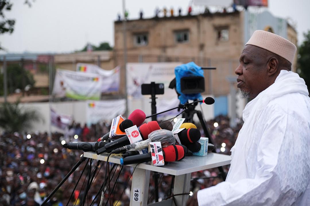 L'imam Dicko lors d'une prise de parole face aux militants du M5-RFP, le 11 août 2021 à Bamako.